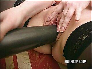 Tight Teen European Pussy Swallows Huge Bat