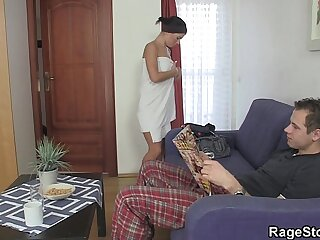 Forced blowjob and fianc� after shower