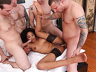 Ebony babe gangbanged by 4 white dicks