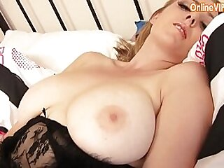 Naughy young blonde girl plays in stockings