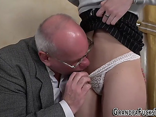 Legal Age Teenager mouths old mans cock