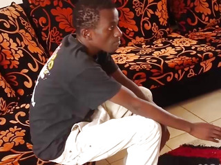 Black African Twink Strokes His Big Dick
