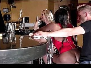 Slut takes anal by bartender at the bar