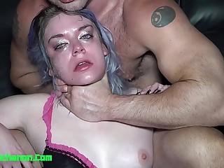 Amateur Slut Aura Moon Roughly Throat Fucked Slapped & Spit On