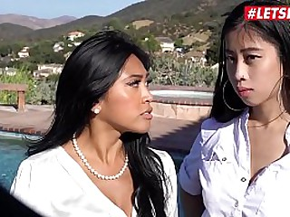 LETSDOEIT - Two Cute Oriental Girls Ember Snow And Jade Kush Are In For Some Hot Threesome Fuck Outdoor